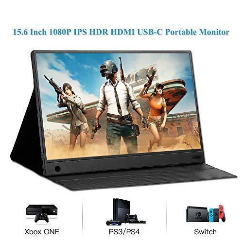JDLP Monitor portátil 15,6 '' Pantalla Tipo C IPS USB HDR LCD HDMI para el teléfono portátil Interruptor de PS4 Xbox Monitor de 1080p Juegos de PC