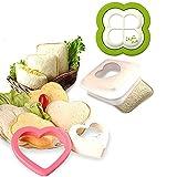 3 Stück Sandwich Cutter Und Sealer Für Kinder - Küche Toastbrot DIY Handmade Pocket Sandwich Stamper Lebensmittelqualität Formen - Herzförmige, Quadratische, Vierblättrige Kleeform
