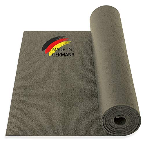 Yogibato Yoga Tappetino Studio PVC Oekotex 100 - Prodotto in Germania – Antisdrucciolo e Senza inquinanti - Tappetino per Ginnastica Pilates Sport Fitness - [200x60x0,45cm] - Taupe