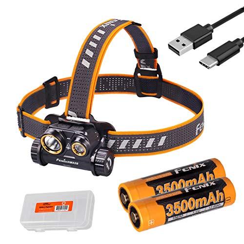 Fenix HM65R 1400 Lumen Dual Beam USB-C Rechargeable Headlamp with 2X 3500mAh Batteries & LumenTac Battery Organizer