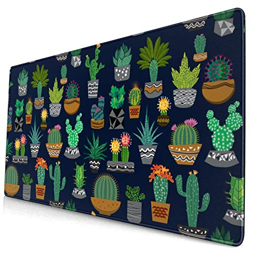 Waldeal Cute Cactus Extended Gaming Mouse Pad (29.5x15.8 in), Large Non-Slip Rubber Base Mousepad with Stitched Edges, Keyboard Mouse Mat Desk Pad for Work, Game, Office, Home