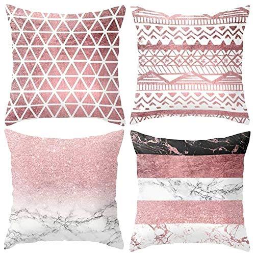 Hangood Geometric Cushion Covers 18x18 Soft Plush Throw Pillow Covers 45cm x 45cm Set of 4pcs Pink