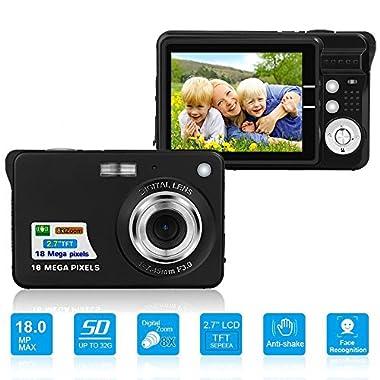 HD Mini Digital Camera with 2.7 Inch TFT LCD Display, Digital Video Camera Black-- Sports,Travel,Camping,Birthday&Christmas Gift (Black)