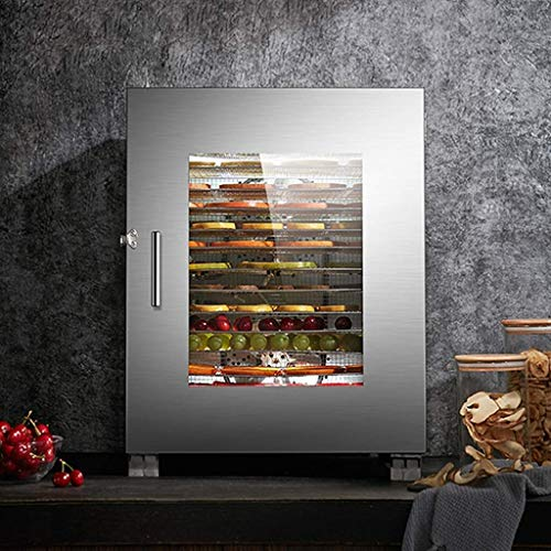 HJTLK Food Dehydrators,Food Dehydrator Tiered 16 Tier Timing 0~24H Electric Food Dehydrator Machine 35anddeg;C~90anddeg;C 1200W Commercial Stainle