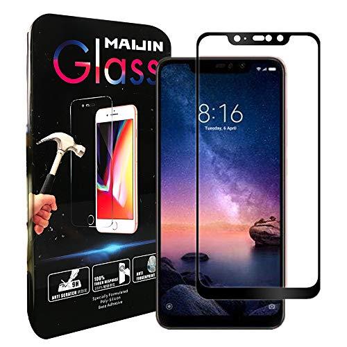 MaiJin [2-Pack] HD Clear Tempered Full Glass Screen Protector for Xiaomi Redmi Note 6 Pro (6.26' Screen Smartphone)