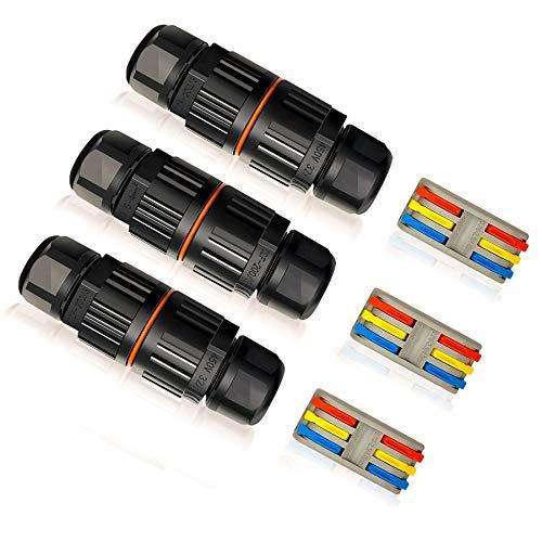 3 Stück Kabelverbinder Verbindsmuffen Kabelmuffen Abzweigdose Klemmensalat Kabelanschluss Wasserdicht Kabelverbindung IP68 verbinden für den Außenbereich, Kabelmuffe zur Verlängerung Verbindungsbox