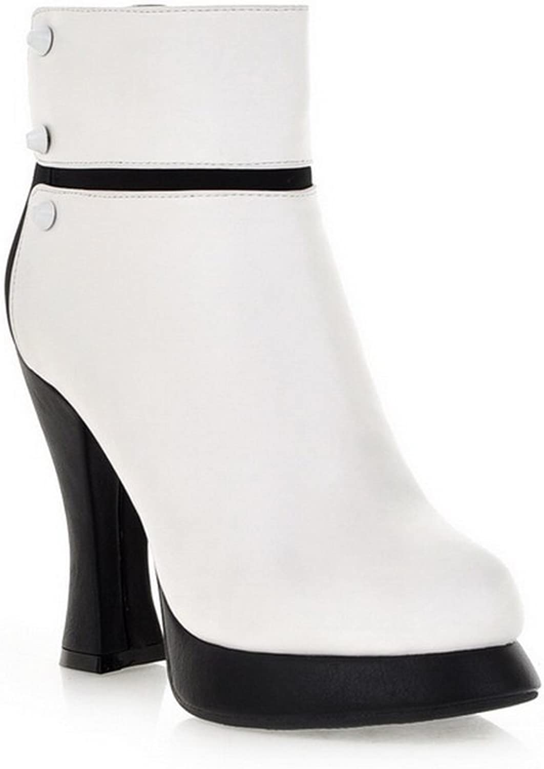 A&N Girls Chunky Heels Two-Toned Platform Soft Material Boots