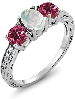 1.75 Ct Oval Cabochon White Simulated Opal Pink Tourmaline 925 Sterling Silver Ring