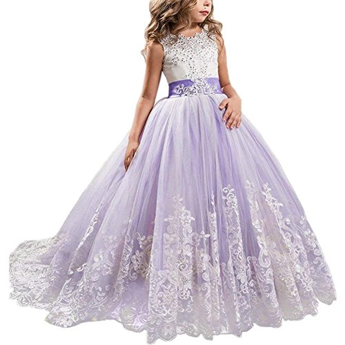 NNJXD Mädchen Spitze Applique Bestickt Hochzeit Brautjungfer Prom Schule Abendgesellschaft Ballkleider Kinder Tüll Prinzessin langes Kleid. Größe (130) 7-8 Jahre Lila