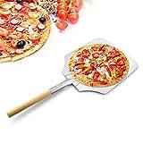 AWYGHJ Cáscara de Pizza de Metal de Aluminio de 12x14, Paleta de Pizza con Mango de Madera, para Amantes de la Pizza casera, Cocineros y Principiantes por Igual, para Hornear Pan, barbacoas