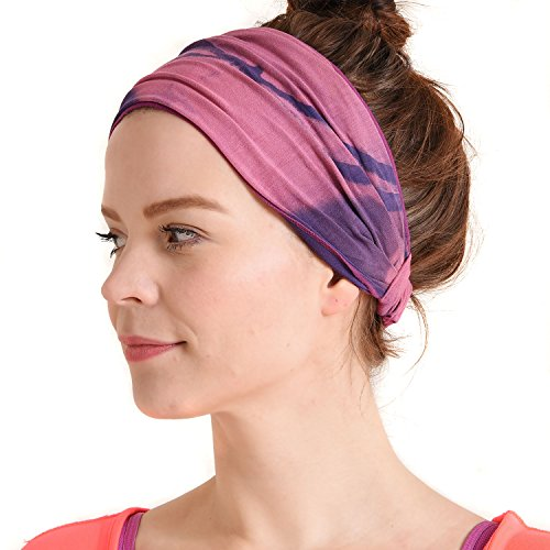Womens Bandana Headband Headwrap - Mens Hippie Hair Band Japanese Boho Hand Dye Dread Wrap Purple