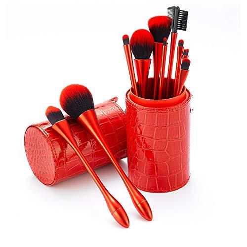 Yaobuyao Pinceau de Maquillage Set, 10Pcs Rouge Premium pinceaux de Maquillage synthétique pour Grande Poudre Pinceau Fond de Teint Maquillage des Yeux Brosses Kit avec Seau Brosse Maquillage Rouge