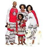 Xingsiyue Familia Pijamas de Navidad, Moda Estampados Navidad Ropa de Dormir Conjunto Manga Larga Xmas Familia a Juego Pijamas