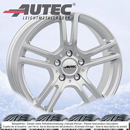 4 Winterräder Autec Mugano 6.5Jx16 ET49 5x112 silber mit 205/55 R16 91H Semperit Speed-Grip 2 für Mercedes A- B-Klasse CLA-Klasse