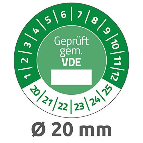 AVERY Zweckform 6985-2020 fälschungssichere Prüfplaketten 2020-2025 (stark selbstklebend, Kleinformat, Ø 20 mm, 120 Aufkleber auf 8 Blatt, handbeschriftbare Klebefolie zur Inventarkennzeichnung) grün