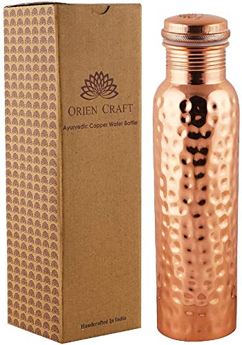 ORIEN CRAFT Hammered Ayurvedic Copper Water Bottle 34 Oz an Ayurvedic Pure Copper Vessel - Drink More Water, Lower Your Blood Sugar Level and Blood Pressure