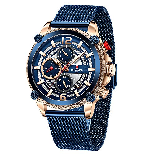 Shalwinn Relojes Hombre CronóGrafo Automático MultifuncióN Acero Inoxidable Impermeable Cuarzo Moda Negocios Ocio Regalo Reloj,45mm,Negro&Azul