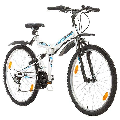 Multibrand, Folding FSP 26, 26 Pollici, 457mm, Mountain Bike Pieghevole, 18 velocità, Full Suspension, Unisex, 26x18 (Bianco/Nero-Blu + Parafango)