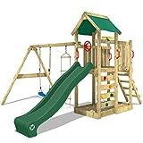 WICKEY Aire de jeux MultiFlyer Portique de jeux en bois Tour d'escalade avec balançoire, toboggan vert, mur d'escalade, échelle de cordes, bac à sable + Accessoires