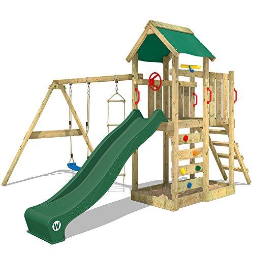 WICKEY Spielturm Klettergerüst MultiFlyer mit Schaukel & grüner Rutsche, Kletterturm mit Sandkasten, Leiter & Spiel-Zubehör