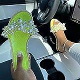 Zapatillas de gran tamaño para mujer 21 verano perla rhinestone zapatos planos tamaño 43, 35, Verde fosforescente