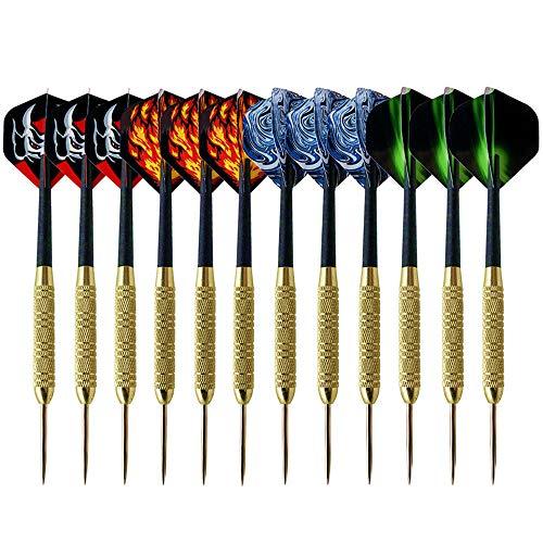 XUBX 12 stuks Dartpijlen met metalen punt, Steeltip dartpijlen, stalen darts pijlset, 19 gram professionele stalen darts, dartpijl, PET-flights in 4 stijlen