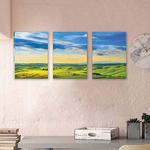 "MartinDecor Tuscany Kids Wall Art Sunset in Tuscany Rural Farmand Cypresses Trees Sunlight Volterra Italy 3D Hand-Painted On Canvas Bedroom Wall Decor, 24""x35"" x3 Pcs Sky Blue Pale Green"