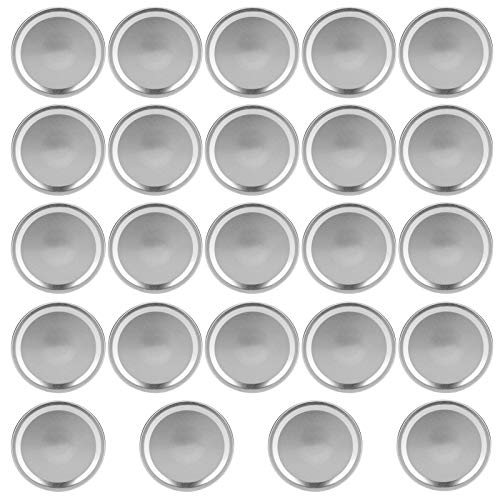 Baverta Tapa de Tarro, Tapa de Vidrio, Tapas Redondas de Tipo Dividido, Tapas de Almacenamiento de Sellado de Tarro de conservas para Tarro de Boca Ancha Regular, 24 Piezas(#4)