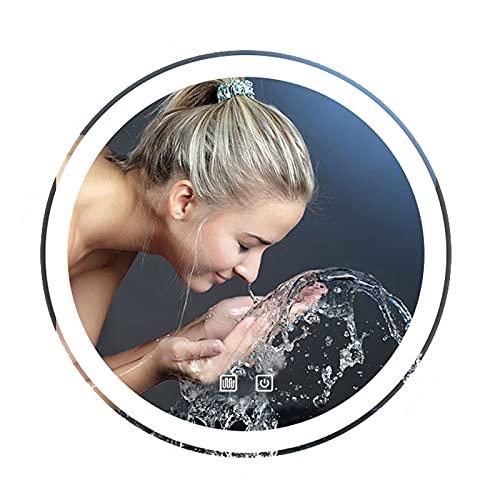 Espejo De Baño LED Redondo 60 Cm Antivaho, Maquillaje Baño Espejo De Pared, Pantalla Táctil Ajustable De Brillo, con 3 Modos De Color, Luz Blanca/Luz Cálida/Luz Neutra, 3000 K-6000 K, Grado Imperm