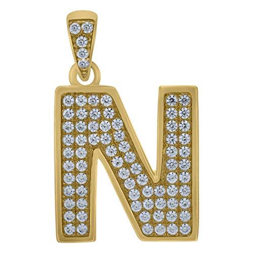 Colgante de oro amarillo de 10 quilates con circonita cúbica y inicial N - Medidas 29 x 17,2 mm de ancho - Oro más alto que oro de 9 quilates