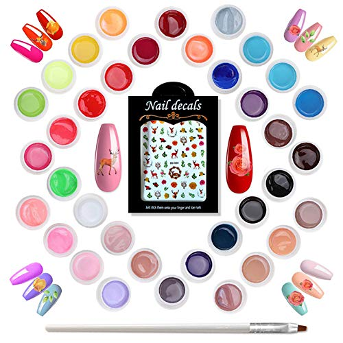 Holady 36 Farben UV farbgel, UV Gel Set gelfarben für nägel, Nail Art Farbgel Set, gel nägel farben, Nagellack Nail Polish für Nail Art Nagel-Design,Enthält Einen Nagelaufkleber