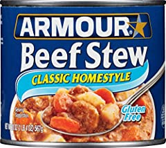 Includes twelve (12) 20-ounce cans of Armour Star Classic Homestyle Beef Stew Beef, potatoes and carrots come together in hearty, rich gravy for a quick and easy meal Keep this canned stew in your pantry for easy ingredients in recipes such as cornbr...