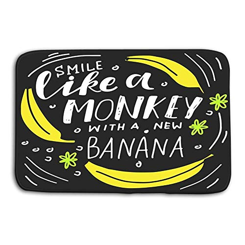 Divertido Felpudo Estampado para el hogar Alfombrilla Lavable Alfombrilla Lavable Tejido no Tejido 24 WX 16 W Pulgadas sonríe como Mono Nuevo plátano sonríe como Mono Nuevo