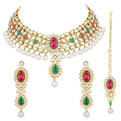 Aheli Parure de Bijoux Indiens Kundan en Perles synthétiques avec Maang Tikka Ethnique pour Femme