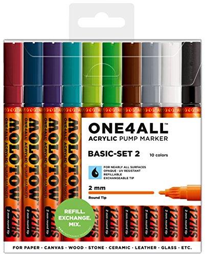 Molotow One4All 127HS Acryl Marker (Basic-Set 2, 2 mm Spitze, hochdeckend und permanent, UV-beständig, für fast alle Untergründe) 10 Stück sortiert