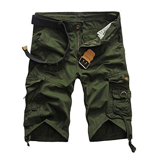 MISSMAOM Militar Cortos de Carga Camuflaje Bermuda Cortos Pantalones Deporte Shorts Multi Bolsillos Moda Pantalones Cortos Hombre Verde del Ejército 2 38