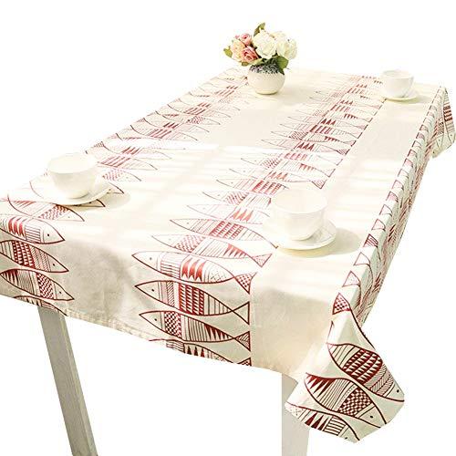 Rétro poisson modèle table tissu restaurant à manger nappe coton salon décoration fête nappe de mariage tissu de décoration 140 X 180 cm 55x70 pouces