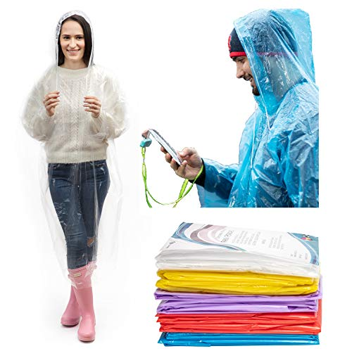IMPRIE Rain Ponchos for Adults - Rain Gear for Women Waterproof - Disposable Rain Poncho for Theme Parks, Concerts, Camping, Hiking - Emergency Rain Coats for Women (5)