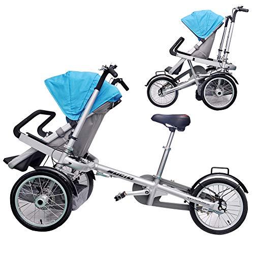 Eltern-Kind-Fahrrad 2 in 1 Kombi-Kinderwagen Faltbare Mutter-Kind-Auto Abnehmbar 2 Modi Free Convertible Fahrmodus + Kinderwagen-Modus Can Sit-and-Ride Adult Unisex,Blau