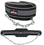 APRODO Professional Back Support DIP Belt with Steel Chain 36 INCHES Weighted Chain for DIPS Pull UPS Weight Lifting Crossfit, ONE Size FITS All (Grey Black)