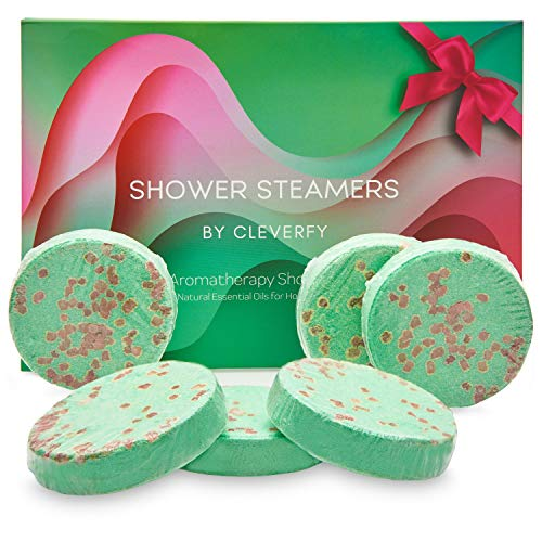 Cleverfy Aromatherapy Shower Steamers - Set of 6 Shower Bombs for Father's Day with Essential Oils for Relaxation and Nasal Congestion. Green Waves Set: Eucalyptus and Menthol Aroma