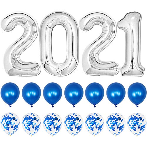 Silver Number Balloons 2021 Graduation Decorations Set - 40 Inch | Blue Latex, Confetti Balloons for Grad Party Decorations 2021 | Graduation Party Supplies 2021 | Class of 2021 Decorations Balloons