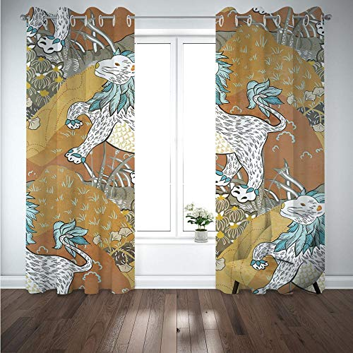 MENGBB Blackout Curtain for Kids Girls Microfiber 63x71 inch Jungle animal cheetah Thermal Insulated 95% Blackout Kitchen Bedroom Living Room Window Eyelet Curtains