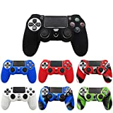 TSAUTOP Slim Console Skin Cover with Controller Grip Caps Silicone Case for Dualshock 4 for Playstation 4 PS4 Pro ( Color : 8 Black Caps )