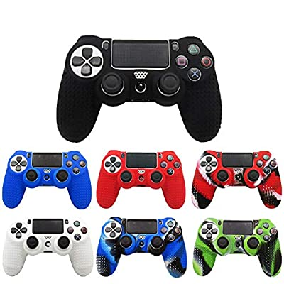 TSAUTOP Slim Console Skin Cover with Controller Grip Caps Silicone Case for Dualshock 4 for Playstation 4 PS4 Pro ( Color : 8 Red Caps )