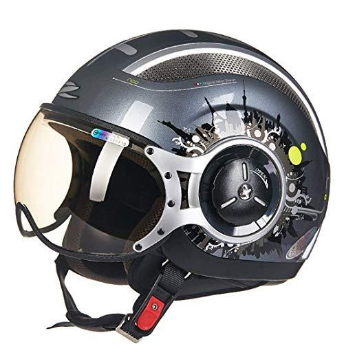 O-Mirechros Los Cascos Motocicleta Motocross Jet Retro 3/4 Medio Casco Aprobado por el Dot Casco la Moto