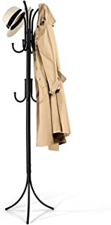 Porte-Manteau sur Pied, Métal Porte Manteau Perroquet & Noir Porte-Manteau 3 Niveaux et 11 Crochets pour Couloir, Salon, E...