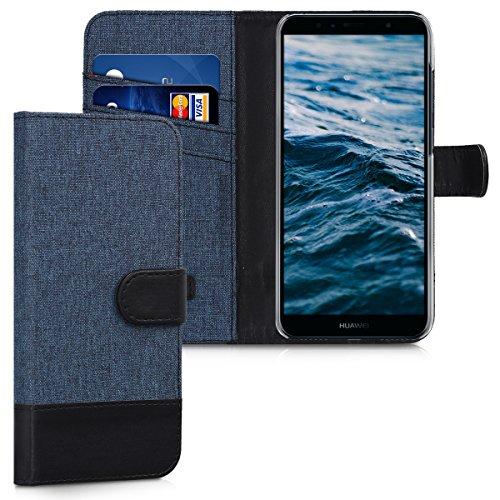 kwmobile Wallet Case kompatibel mit Huawei Y6 (2018) - Hülle mit Ständer - Handyhülle Kartenfächer Dunkelblau Schwarz