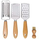 LAIBO Hand Held Cheese Graters with Cleaning Brush Set, Mini Stainless Steel Vegetable Grater with Wood Handle, Multi-purpose Kitchen Food Shredder for Chocolate Butter Nuts Ginger