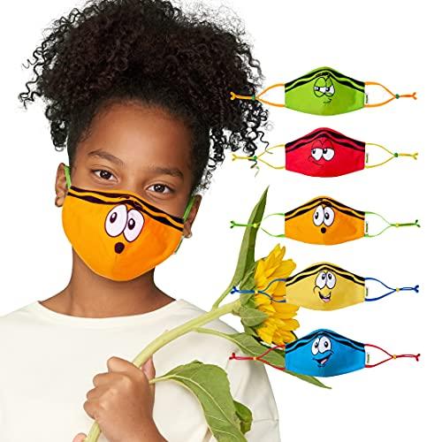Crayola Teen/Adult Face Mask - 5 Reusable Cloth Face Mask Set, Tip Faces, Teacher Supplies